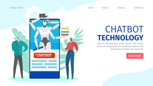 Pagina di destinazione della tecnologia online di chatbot
