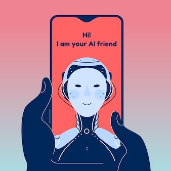 Robot chatbot in chat illustrazione. illustrazione dettagliata isolata dell'applicazione amico ai. aiuto e supporto emotivo e psicologico.