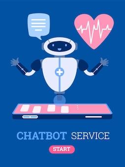 Progettazione dell'insegna di servizio di chatbot con l'illustrazione di vettore del fumetto dell'assistente del robot