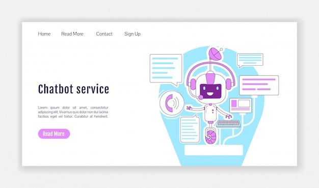 Modello di vettore di sagoma piatta pagina di destinazione servizio chatbot. layout della homepage dell'assistente personale. interfaccia del sito web di una pagina di comunicazione virtuale con personaggio dei cartoni animati.