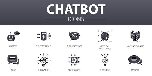 Chatbot semplice concetto di icone impostate. contiene icone come assistente vocale, risponditore automatico, chat, tecnologia e altro, può essere utilizzato per web, logo, ui/ux