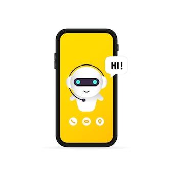 Chatbot nell'illustrazione dello smartphone o ciao messaggio e modello o finestra di dialogo della pagina di destinazione del bot dell'assistente online.