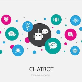 Modello di cerchio alla moda di chatbot con icone semplici. contiene elementi come assistente vocale, risposta automatica, chat, tecnologia