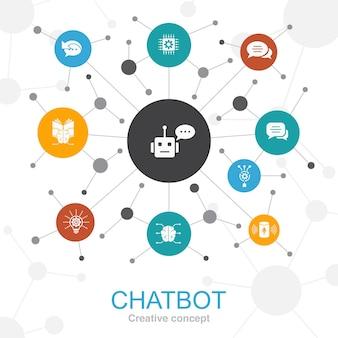 Chatbot concetto web alla moda con le icone. contiene icone come assistente vocale, risponditore automatico, chat, tecnologia