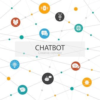 Modello web alla moda di chatbot con icone semplici. contiene elementi come assistente vocale, risposta automatica, chat, tecnologia