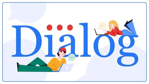 Concetto di chat. le persone chattano utilizzando il telefono cellulare e i social network per il dialogo. concetto di tecnologia moderna. illustrazione