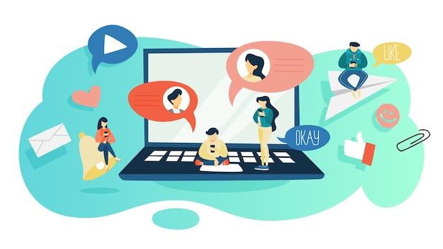 Concetto di chat. persone sedute sul grande computer portatile e chattare utilizzando il telefono cellulare e il social network. concetto di tecnologia moderna. illustrazione