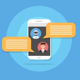 Chiacchierando con il concetto di bot di chat. servizio assistenza icona robot. illustrazione vettoriale in stile piatto