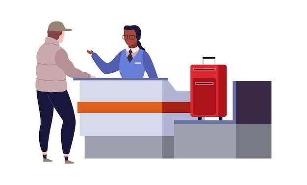 Check-in al terminal dell'aeroporto. sicurezza delle frontiere al checkpoint e viaggiatore con bagagli in piedi