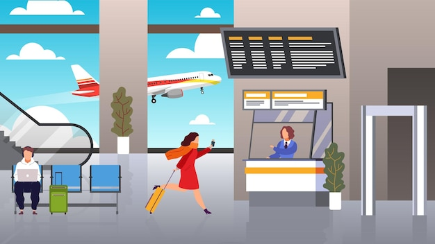 Check in aeroporto. la donna corre con la valigia è in ritardo per il volo aereo aereo controllando il biglietto e i documenti, i registri dei passeggeri in attesa del viaggiatore di partenza dell'aereo con il concetto di vettore del fumetto piatto bagagli