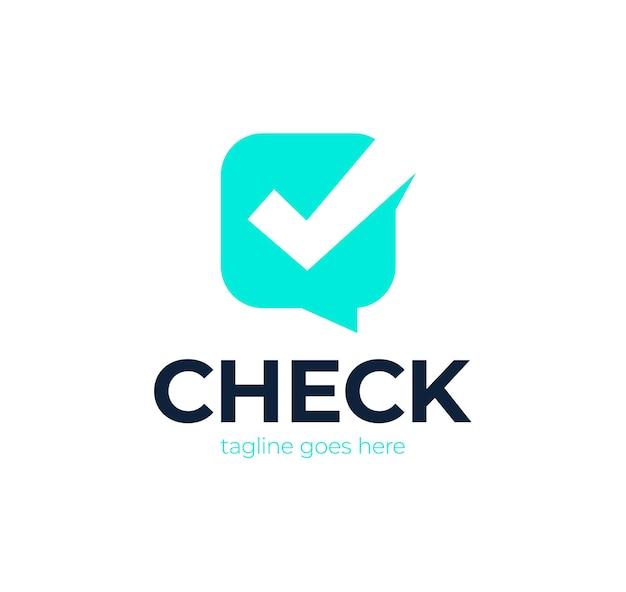 Controllare la chat logo icon design. modello di concetto di progettazione di logo di segno di spunta di chat