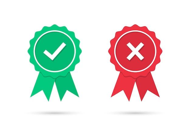 Controlla e incrocia le icone delle medaglie in un design piatto. distintivo verde approvato e rosso respinto medaglia con ombra. set di icone medaglia certificata. illustrazione vettoriale