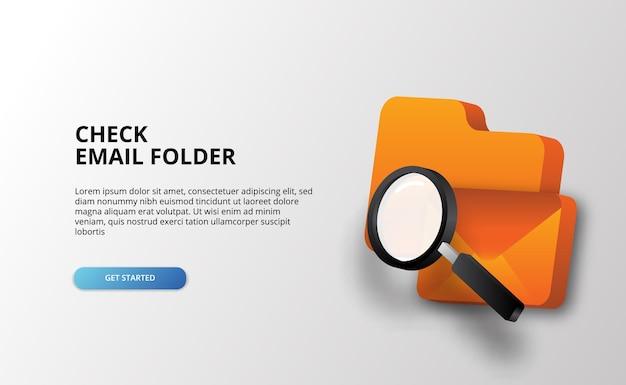 Controlla la cartella e la posta elettronica con le icone 3d e la lente d'ingrandimento per convalidare la tecnologia dei dati