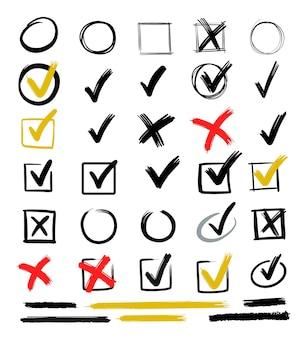 Controllare i segni disegnati a mano. segno di scarabocchio per gli elementi dell'elenco, gessetto della casella di controllo.