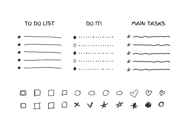 Controllare l'elenco delle cose da fare, il punto elenco, il segno di spunta e la casella di controllo in una raccolta in stile cartone animato di schizzo scarabocchio isolata su sfondo bianco