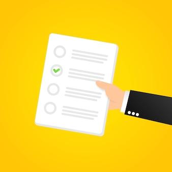 Controllare l'icona dell'elenco. per fare la lista, sondaggio, concetti d'esame. organizzazione aziendale e raggiungimento degli obiettivi. vettore su sfondo bianco isolato. env 10.