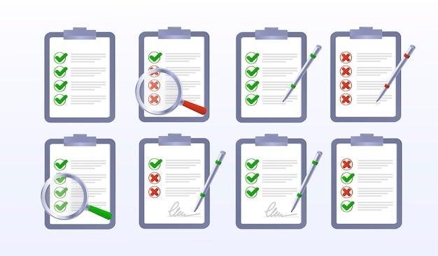 Elenco di controllo sul tablet segno errato corretto set di icone di contrassegno giusto e sbagliato segno di spunta verde e rosso