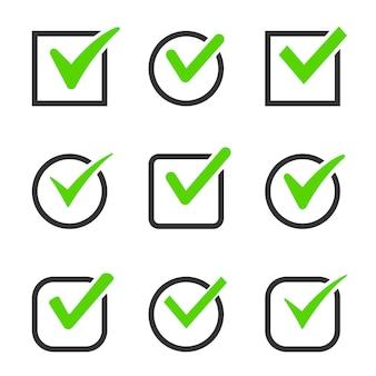 Caselle di icone di segno di spunta impostate grafica vettoriale