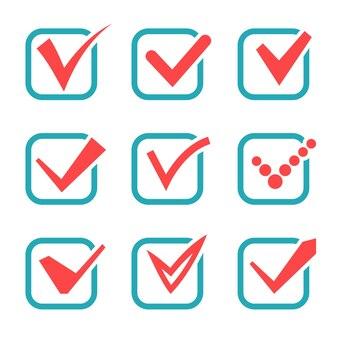 Icone del segno di spunta. segni di spunta rossi nelle caselle blu. illustrazione