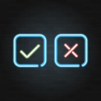 Segno di spunta simbolo della linea di luce al neon sullo sfondo di mattoni neri. illustrazione vettoriale.