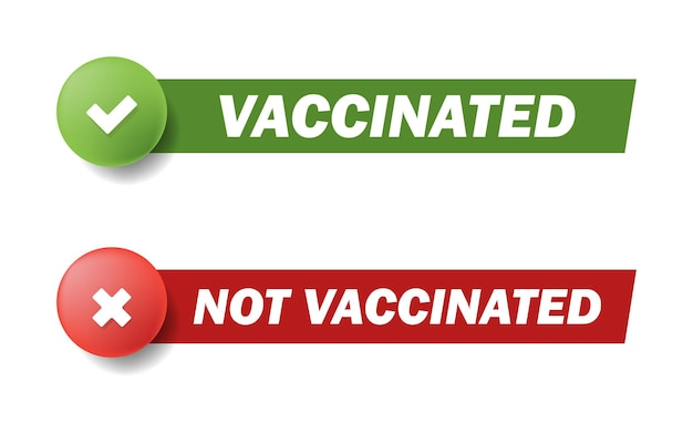 Segno di spunta vaccinato o non vaccinato. le etichette adesive vengono utilizzate per identificare le persone che sono già state vaccinate per prevenire la diffusione di germi. set di adesivi per la vaccinazione