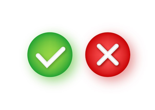 Segni di spunta sì e no, simbolo dell'icona del segno di spunta. illustrazione di riserva di vettore.