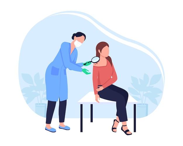 Controllare il melanoma per il cancro della pelle 2d illustrazione vettoriale isolato. il praticante esamina la talpa. personaggio piatto medico e paziente femminile su sfondo di cartone animato. scena colorata di appuntamento dal dermatologo