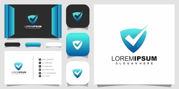 Controlla il design del logo dello scudo Vettore Premium