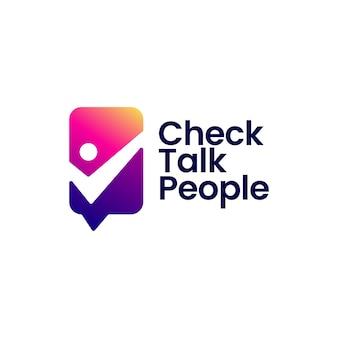 Check talk persone chat comunicazione logo sociale icona vettore illustrazione