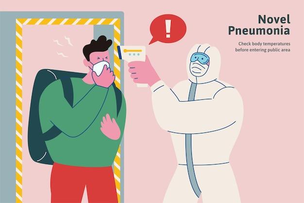 Controlla la tua temperatura corporea prima di entrare nell'area pubblica durante questo periodo