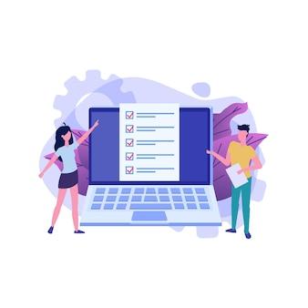 Caselle di controllo sullo schermo del computer. esame online, concetto di quiz su internet.