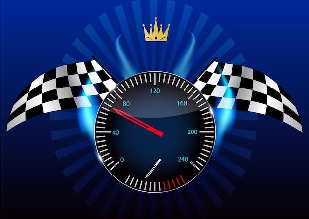 Bandiera a scacchi, tachimetro. illustrazione vettoriale. env 10.