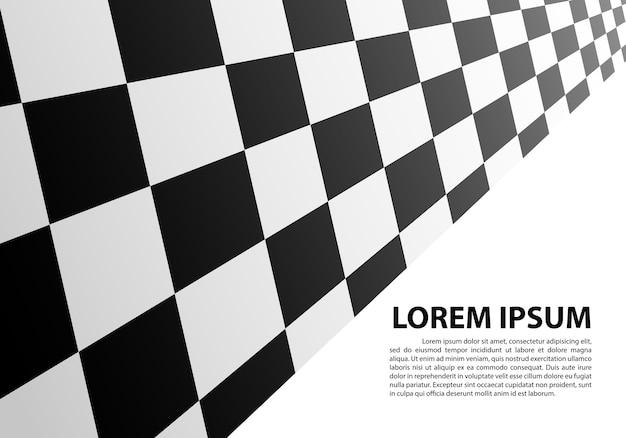 Prospettiva a scacchi su bianco campione di testo in bianco