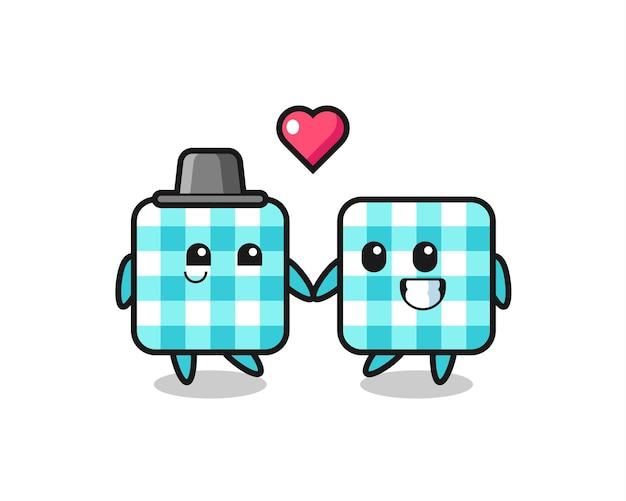 Coppia di personaggi dei cartoni animati con tovaglia a scacchi con gesto di innamoramento, design in stile carino per t-shirt, adesivo, elemento logo