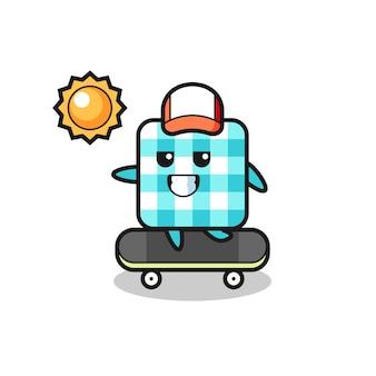 Illustrazione del personaggio della tovaglia a scacchi cavalcare uno skateboard, design in stile carino per maglietta, adesivo, elemento logo