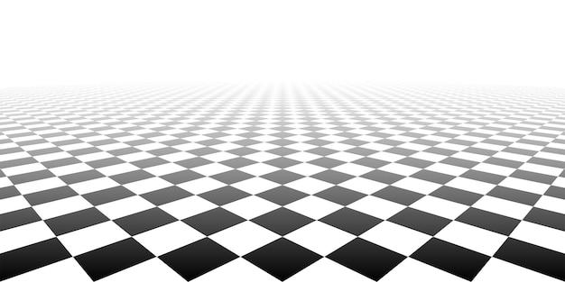 Piastrella a scacchi prospettiva geometrica scacchiera materiale di superficie sfondo vettoriale illustrazione.
