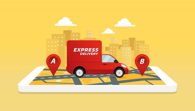 Verifica dell'app del servizio di consegna sul cellulare.