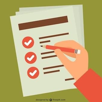 Controllo della lista di operazione a mano Vettore Premium