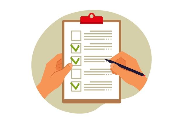 Concetto di lista di controllo. questionario, sondaggio, appunti, elenco attività. illustrazione vettoriale. appartamento
