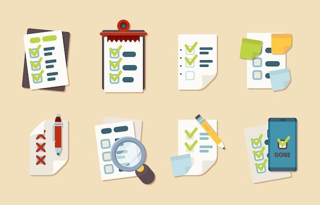 Icone della lista di controllo. il cliente pianifica la raccolta di elenchi di controllo di affari di vettore di appunti di ricerca di pianificazione del blocco note. elenco di controllo delle illustrazioni e verifica degli appunti