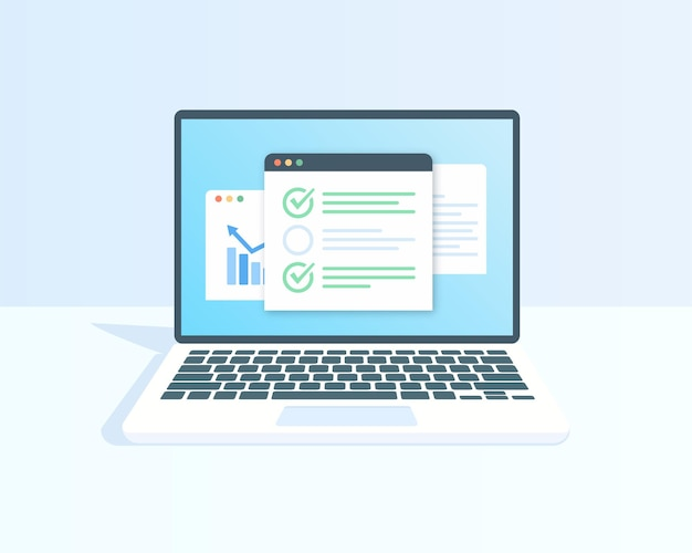 Elenco di controllo sulle caselle di controllo del display del laptop con segno di spunta icona di qualità del contorno piatto