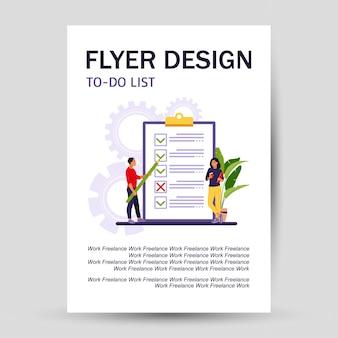 Lista di controllo, volantino con la lista delle cose da fare. idea imprenditoriale, pianificazione o pausa caffè. illustrazione vettoriale. stile piatto.