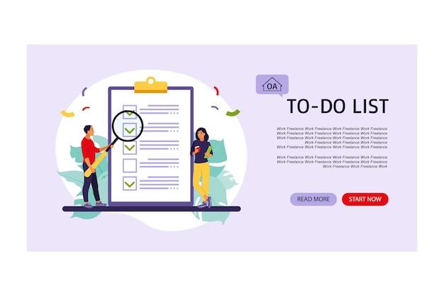 Elenco di controllo, pagina di destinazione dell'elenco delle cose da fare. idea imprenditoriale, pianificazione o pausa caffè. illustrazione vettoriale. stile piatto.