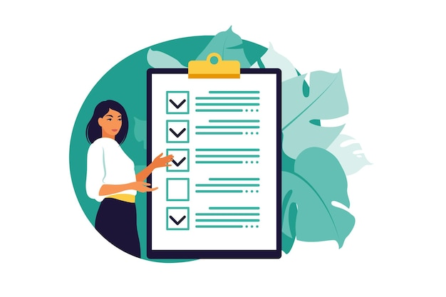 Lista di controllo, lista di cose da fare. elenco o concetto di blocco note. idea imprenditoriale, pianificazione o pausa caffè. illustrazione vettoriale. stile piatto.