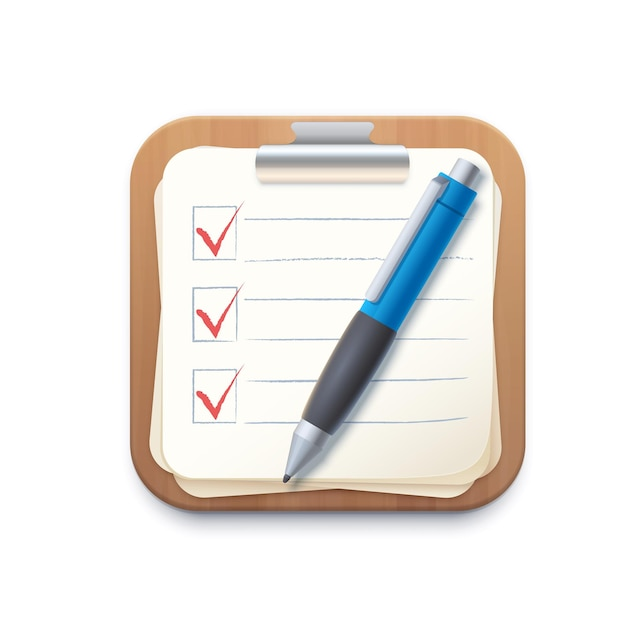 Icona degli appunti del blocco note della lista di controllo, scheda della lista di controllo