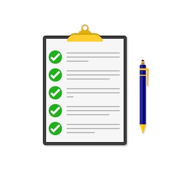 Lista di controllo con una penna. illustrazione.