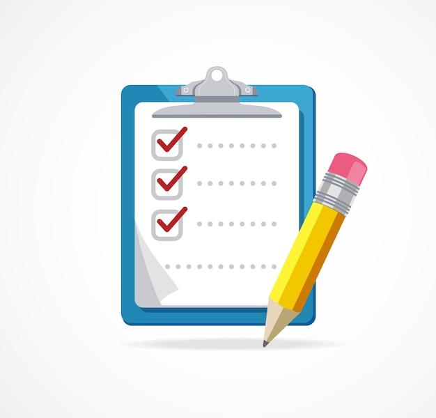 Lista di controllo con matita isolato su sfondo bianco.