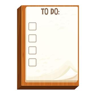 Lista di controllo su una carta per appunti di tavola di legno per lavorare in stile cartone animato