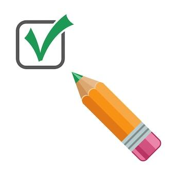 Icona del segno di spunta con la matita. segno di spunta spunta il simbolo corretto. ok, segno approvato. illustrazione vettoriale isolato