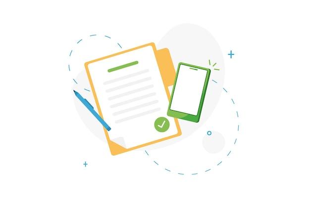 Documento contrassegnato o elenco delle attività completate con il telefono